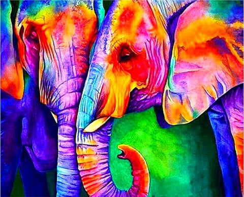 Diamond Painting Abstract Kissing Elephant - OLOEE