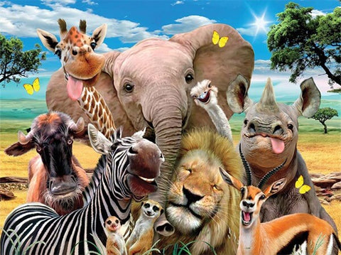 Diamond Painting Group Of Wild Animals - OLOEE
