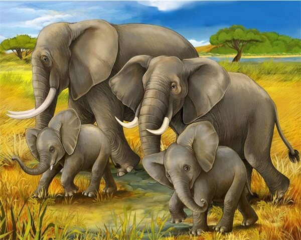 Diamond Painting Elephant On Fields - OLOEE