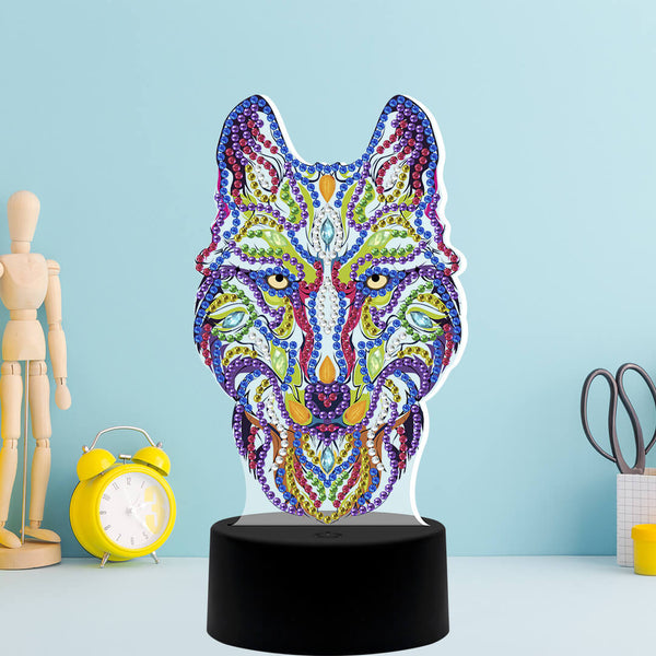 Wolf Diamond Painting Lamp