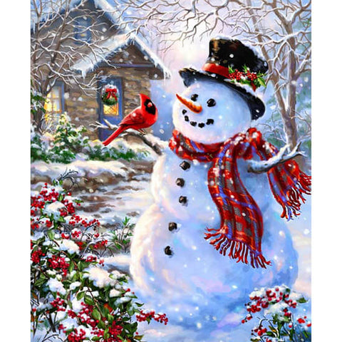 Diamond Painting Red Cardinal Snowman - OLOEE