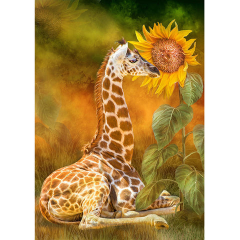 Diamond Painting Giraffe Smelling Sunflower - OLOEE