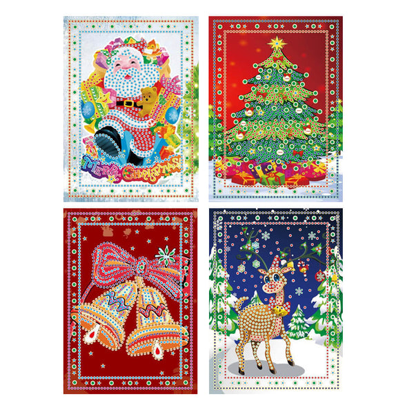 Diamond Painting Assorted Christmas Cards - 4x Pack - OLOEE