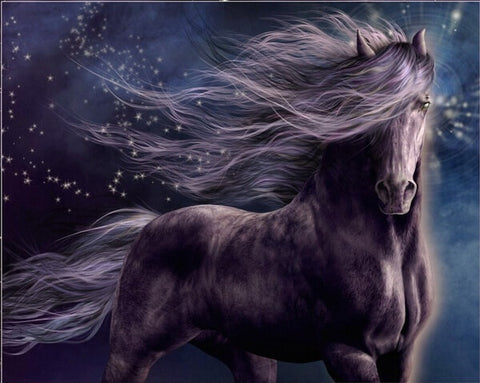 Diamond Painting Black Fantasy Horse - OLOEE