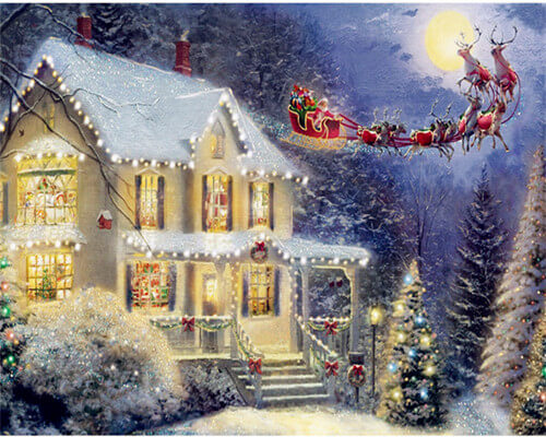 Lighted Christmas House 5d Diamond Painting Kits Oloee