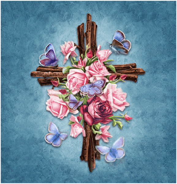 Diamond Painting Religion Rose Cross - OLOEE
