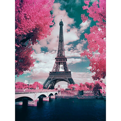 Diamond Painting Pink Romantic Eiffel Tower - OLOEE
