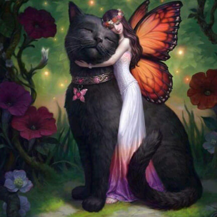Diamond Painting Black Cat Butterfly Fairy - OLOEE