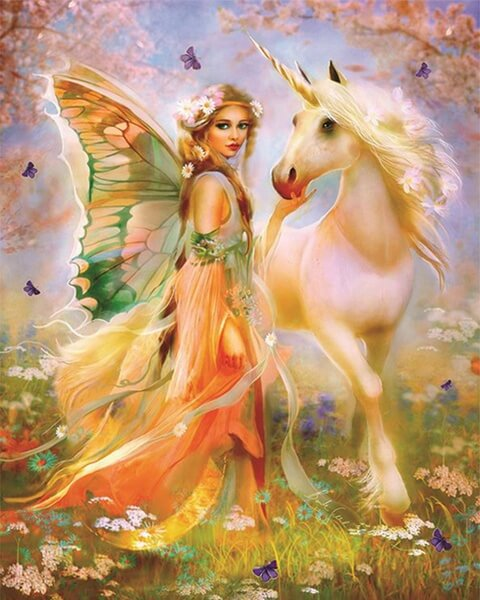 Diamond Painting Floral Fairy Unicorn - OLOEE
