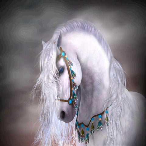 Diamond Painting White Horse Animal - OLOEE