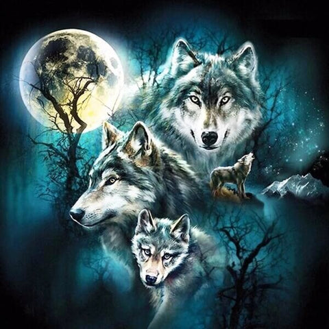 Diamond Painting Moonlight Forest Wolves - OLOEE