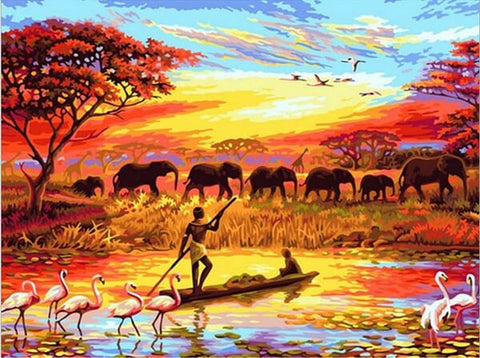 Diamond Painting Africa Sunset Landscape - OLOEE