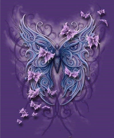 Diamond Painting Floral Purple Butterfly - OLOEE