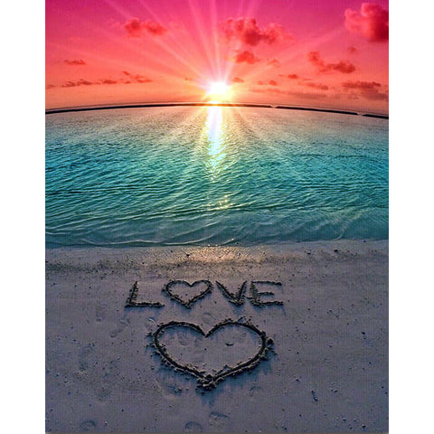 Diamond Painting Sunset Heart On Beach - OLOEE
