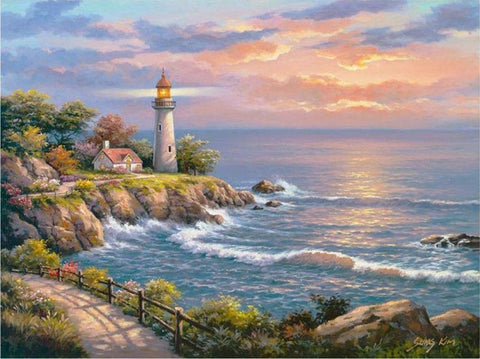 Diamond Painting Light House Sea Sky - OLOEE