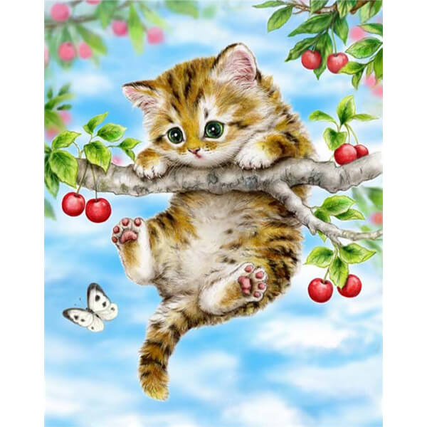 Little Kitten Playing On A Tree - OLOEE
