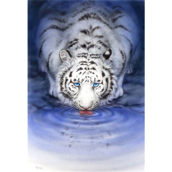 Diamond Painting Blue Eyes White Tiger - OLOEE