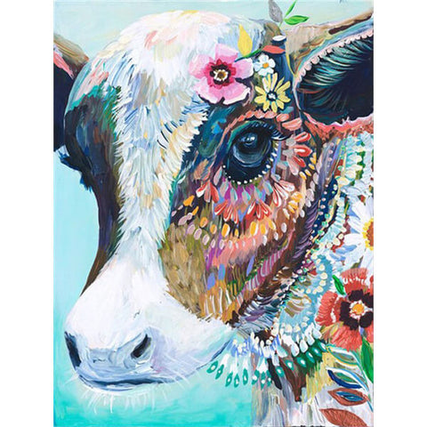 Diamond Painting Floral Cow - OLOEE