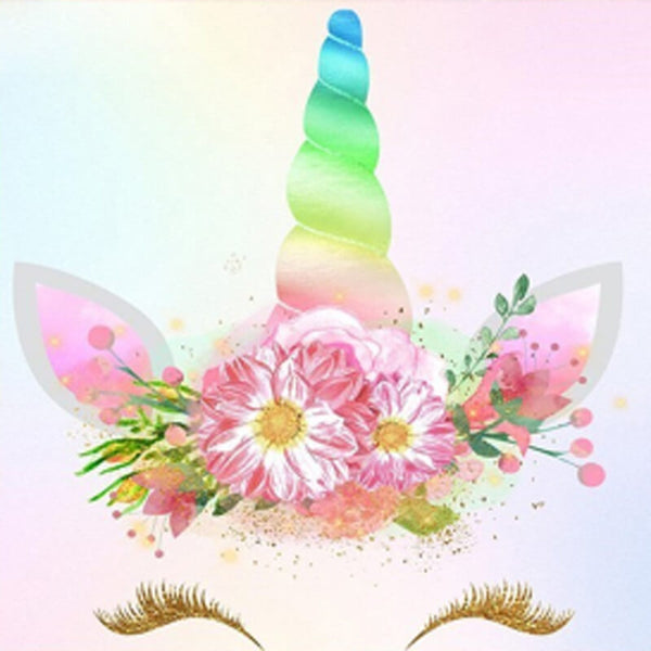 Diamond Painting Floral Rainbow Unicorn - OLOEE
