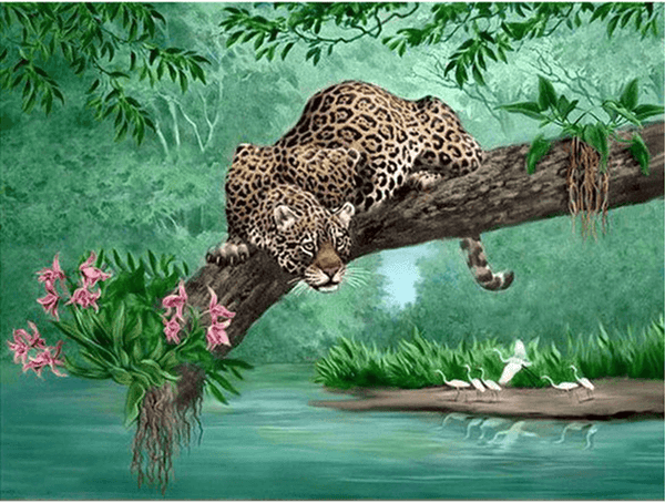 Diamond Painting Leopard On Tree - OLOEE