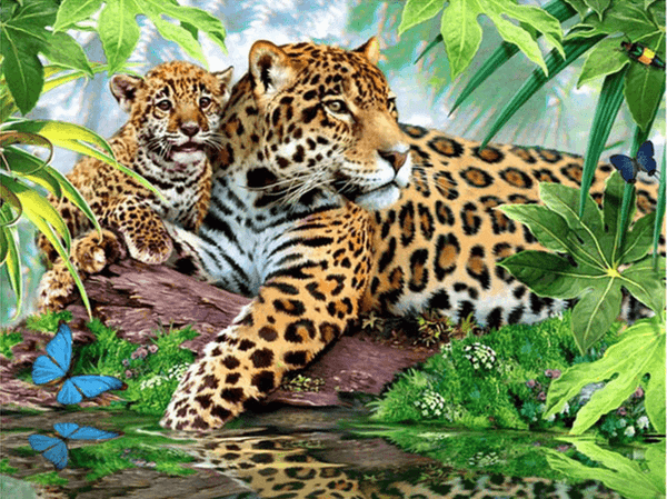 Diamond Painting Forest Leopard Animal - OLOEE