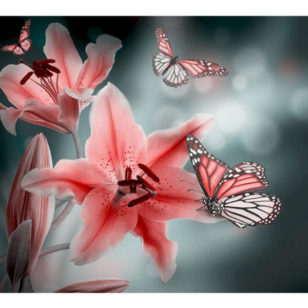 Diamond Painting Pink Lily Butterfly - OLOEE