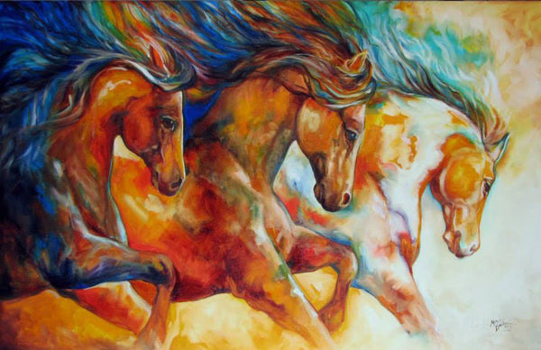 Diamond Painting Three Colorful Running Horses - OLOEE