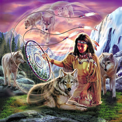 Woman Dreamcatcher Wolf