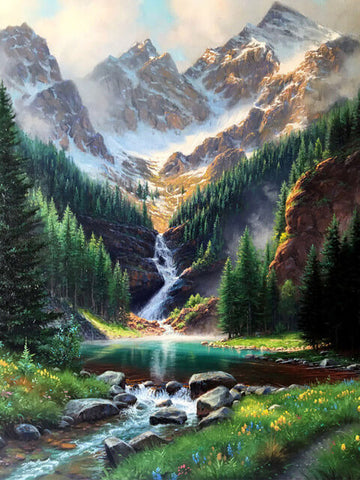 Rocky Mountains Waterfall