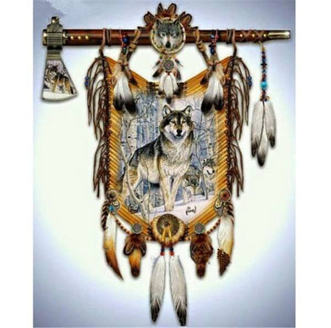 Diamond Painting American Indians Wolf - OLOEE