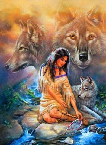 Diamond Painting Indian Woman Wolf - OLOEE