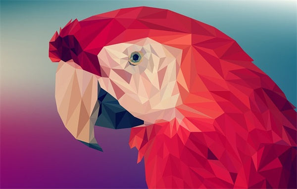 Diamond Painting Red Geometric Parrot - OLOEE
