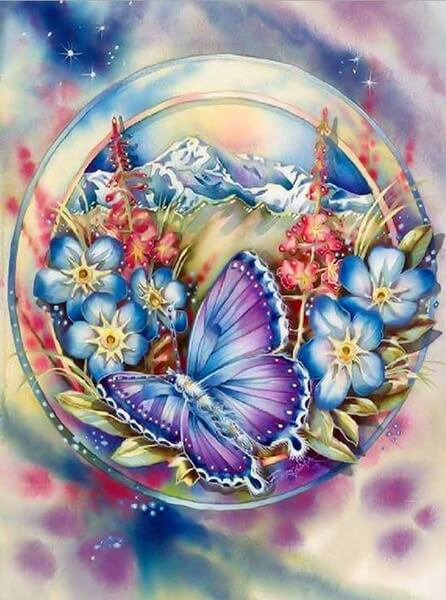 Butterfly And Flowers | 5D Diamond Painting Kits | OLOEE
