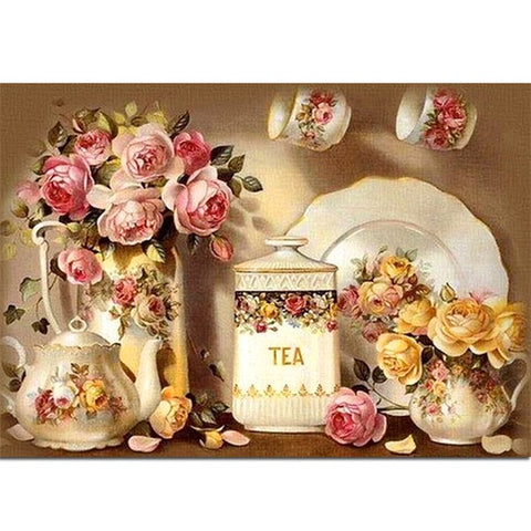 Diamond Painting Kitchen Tea Flower - OLOEE