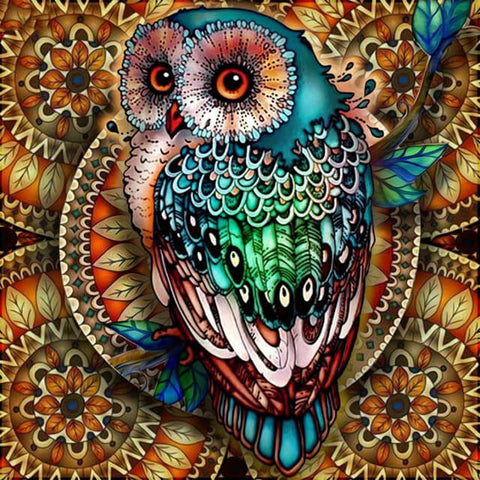 Diamond Painting Mandala Blue Owl - OLOEE
