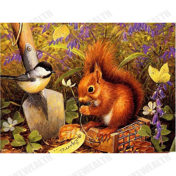 Diamond Painting Bird and Squirrel - OLOEE