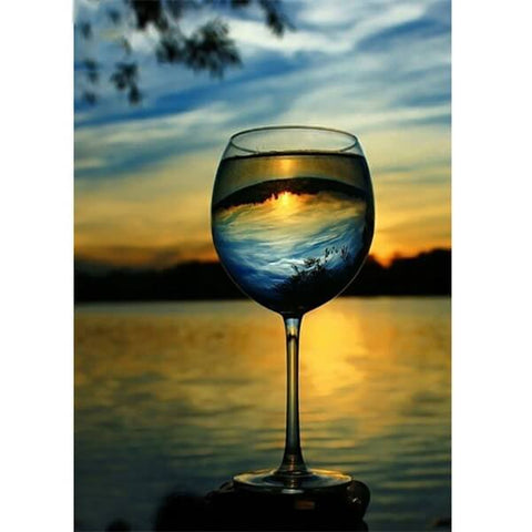 Diamond Painting A Glass Of Landscape - OLOEE