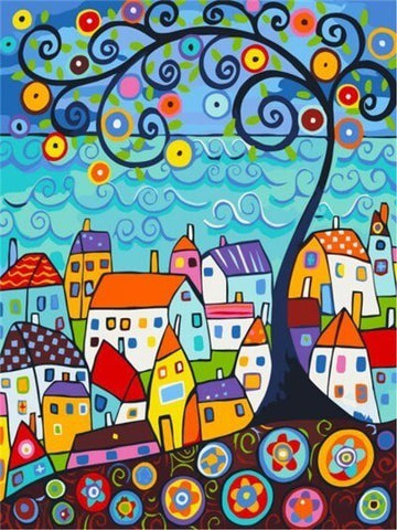 Diamond Painting Colorful Town Painting - OLOEE