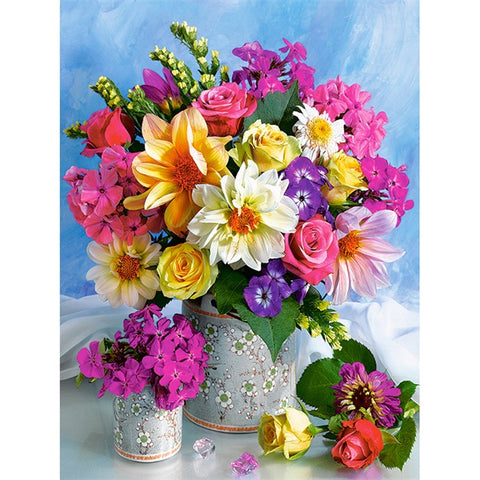 Diamond Painting Colorful Flowers Still Life - OLOEE