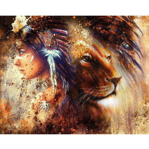 Diamond Painting Indian Woman and Lion - OLOEE