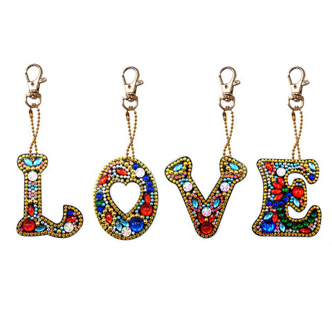 Diamond Painting LOVE Keychains 4pcs/set - OLOEE