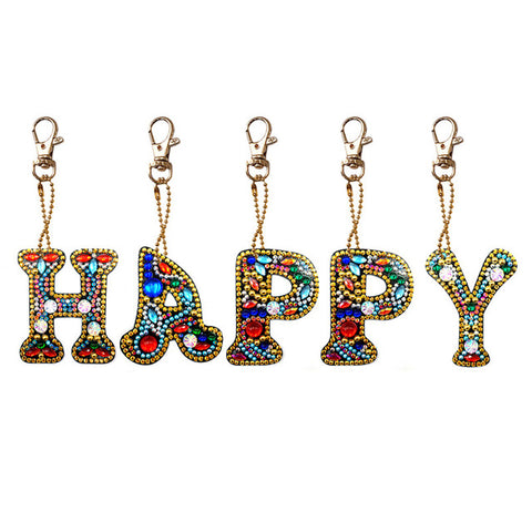 Diamond Painting HAPPY Keychains 5pcs/set - OLOEE