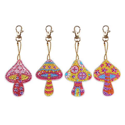Diamond Painting Mushroom Keychains 4pcs/set - OLOEE
