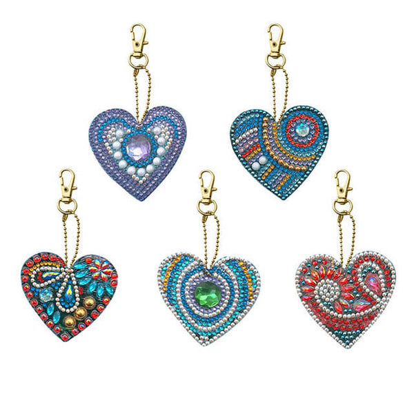 Diamond Painting Heart Keychains 5pcs/set - OLOEE