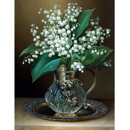 Diamond Painting White Flower Vase - OLOEE