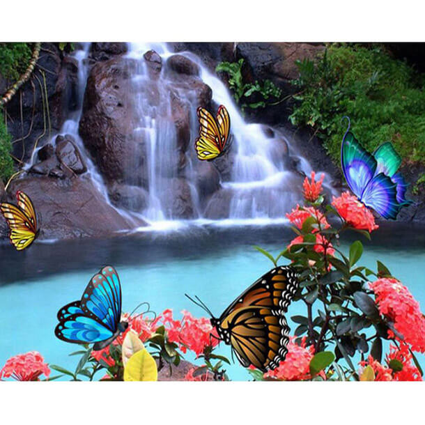 Waterfall Butterfly 5d Diamond Painting Kits Oloee