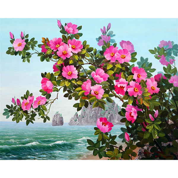 Diamond Painting Pink Flowers By The Bay - OLOEE
