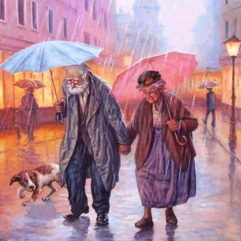 Old Couple In The Rain