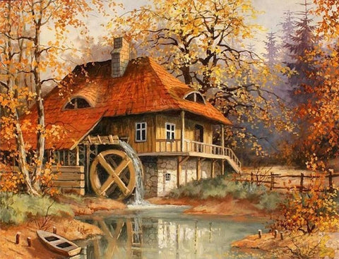 Diamond Painting Cottage In Autumn - OLOEE