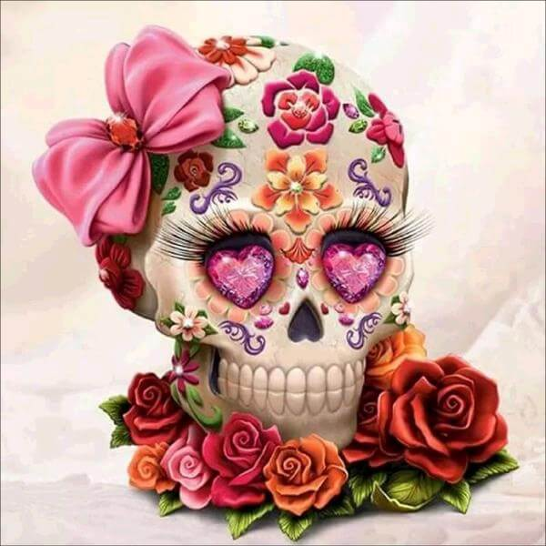 Diamond Painting Floral Skull Embroidery - OLOEE